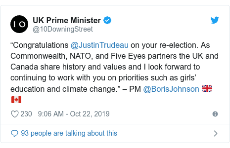 """Twitter post by @10DowningStreet: """"Congratulations @JustinTrudeau on your re-election. As Commonwealth, NATO, and Five Eyes partners the UK and Canada share history and values and I look forward to continuing to work with you on priorities such as girls' education and climate change."""" – PM @BorisJohnson ????"""
