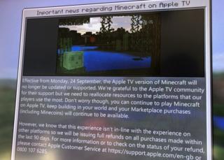 Minecraft message on Apple TV