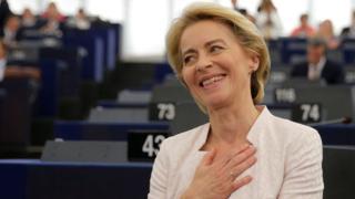 Elected European Commission President Ursula von der Leyen reacts after the vote