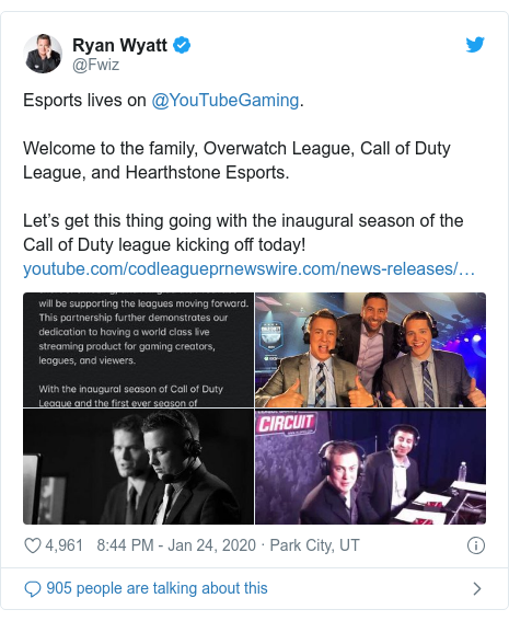 Twitter post by @Fwiz: Esports lives on @YouTubeGaming. Welcome to the family, Overwatch League, Call of Duty League, and Hearthstone Esports. Let's get this thing going with the inaugural season of the Call of Duty league kicking off today!