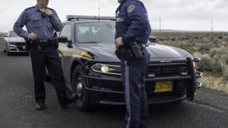 File photo of Oregon state police at a checkpoint near 2016 wildlife refuge standoff