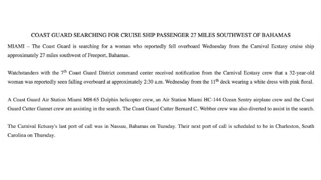 The official US Coast Guard release