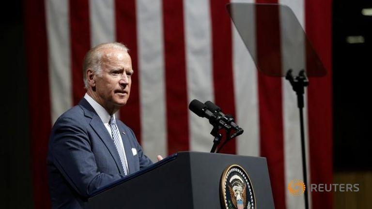 U.S. Vice President Joe Biden delivers a speech in Riga Latvia