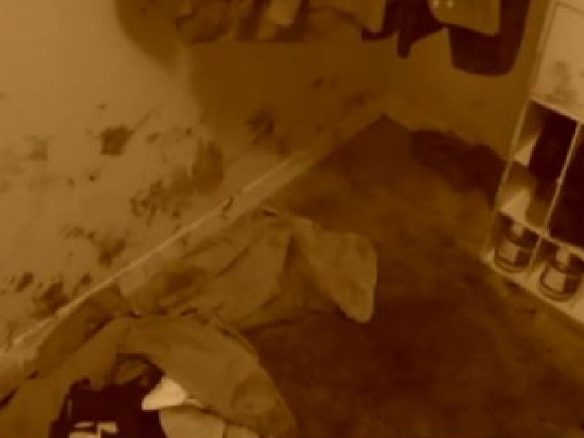 Blood in the closet where detectives say the couple was having sex when Maria Nemeth called out her ex's name. Picture: CBS Miami
