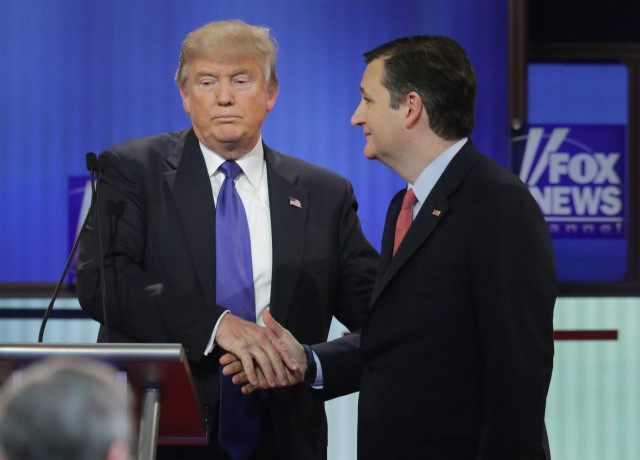 DETROIT MI- MARCH 03 Republican presidential candidates Donald Trump and Sen. Ted Cruz greet each following a debate sponsored by Fox News at the Fox theatre