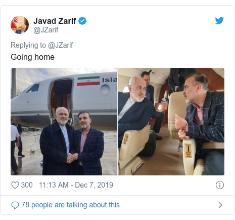 Twitter post by @JZarif: Going home