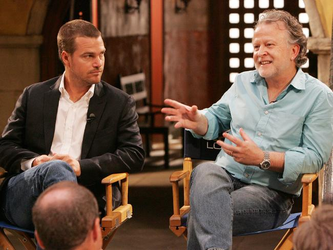 Brennan with NCIS: Los Angeles star Chris O'Donnell during a TCA session on the show's Paramount Studios set in Hollywood, California. Picture: CBS/Sonja Flemming