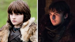Bran Stark in season one and season eight