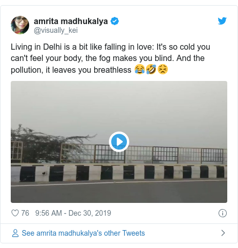 Twitter post by @mysticpoet5: No visibility... Too cold... Drive Safe Delhi #DelhiWinters #foggy #delhifog