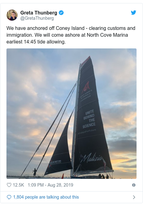 Twitter post by @GretaThunberg: We have anchored off Coney Island - clearing customs and immigration. We will come ashore at North Cove Marina earliest 14 45 tide allowing.