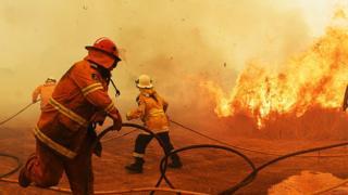 Australian firefighters tackle bushfires