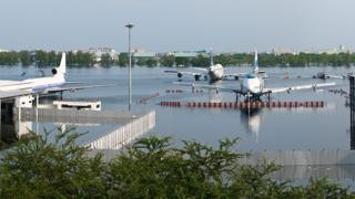 Flooded Don Mueang Airport in Bangkok
