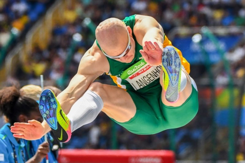 Hilton Langenhoven on his way to winning gold in 2016 Paralympic Games Long Jump at the Olympic Stadium