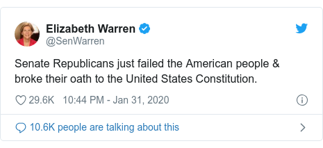 Twitter post by @SenWarren: Senate Republicans just failed the American people  broke their oath to the United States Constitution.
