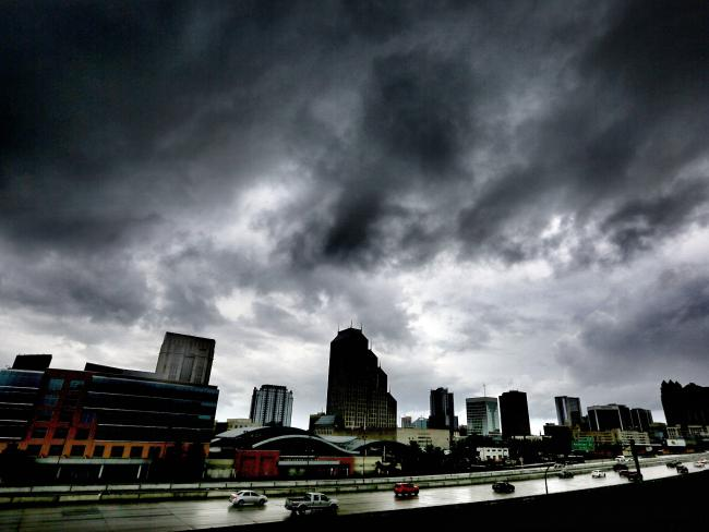 The first outer bands of rain from Hurricane Matthew pass over downtown Orlando, Florida. Picture: Joe Burbank/Orlando Sentinel via AP.
