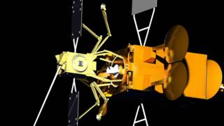 The Space Drone (yellow) would dock with the ageing telecommunications satellite