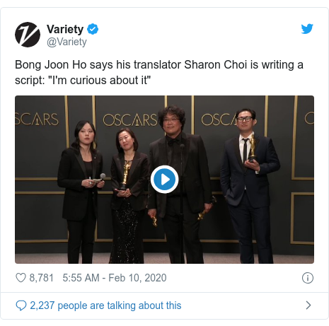 Twitter post by @Variety: Bong Joon Ho says his translator Sharon Choi is writing a script  I'm curious about it