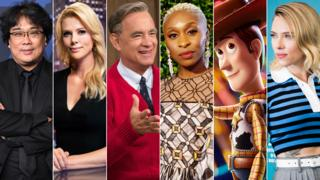 Bong Joon Ho, Charlize Theron in Bombshell, Tom Hanks in A Beautiful Day in the Neighborhood, Cynthia Erivo, Woody from Toy Story and Scarlett Johansson