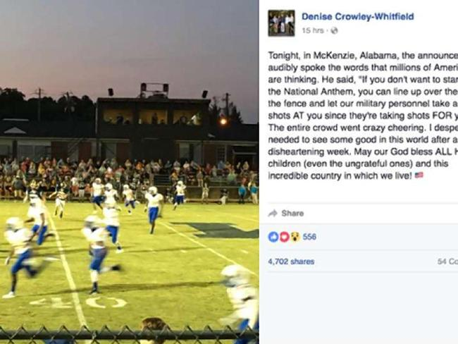 The Facebook post by Denise Crowley-Whitfield, which was subsequently deleted, on what she claimed was said by Pastor Allen Joyner at a high school football game. Picture: Facebook