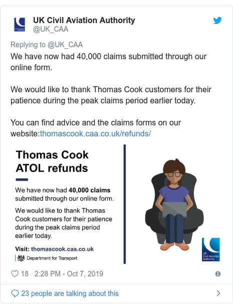 Twitter post by @UK_CAA: We have now had 40,000 claims submitted through our online form.We would like to thank Thomas Cook customers for their patience during the peak claims period earlier today.You can find advice and the claims forms on our website