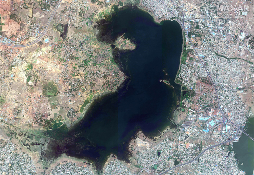 The Puzhal reservoir is seen in this satellite photograph, clearly filling its boundaries in this file photo from June 2018
