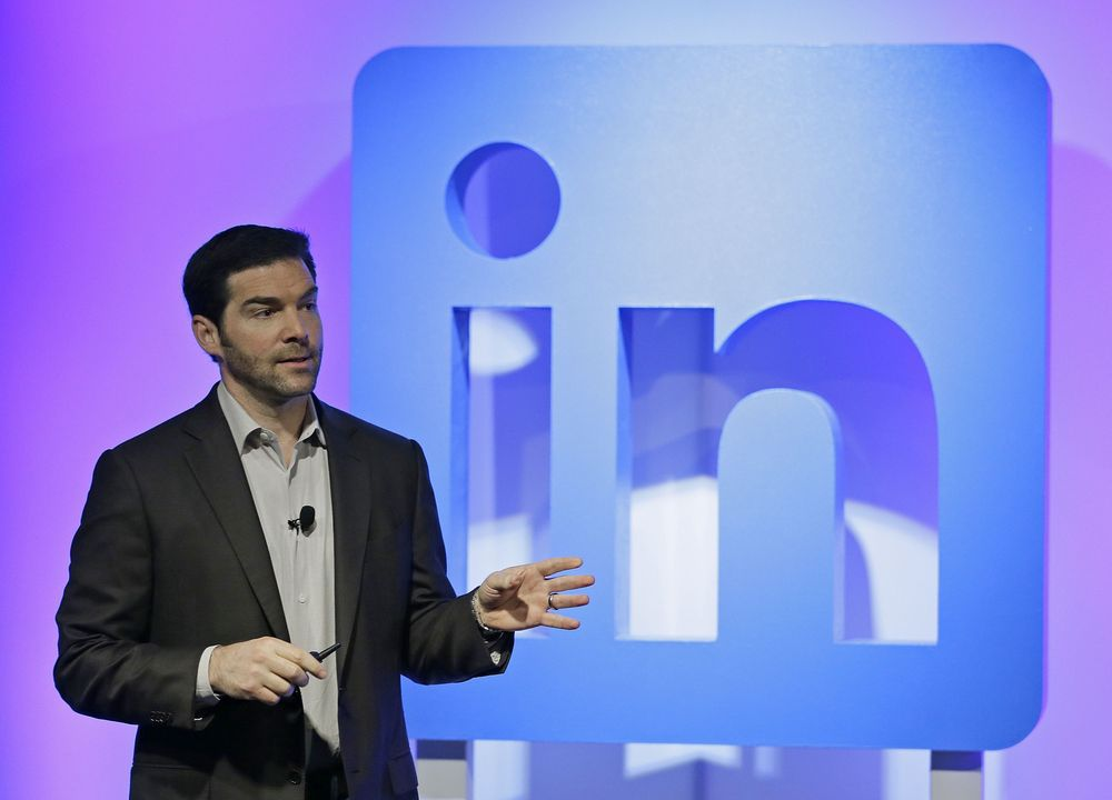 LinkedIn CEO Jeff Weiner speaks during a product announcement at his company's headquarters Thursday Sept. 22 2016 in San Francisco. Linked In wants to become more useful to workers by adding personalized news feeds helpful messaging