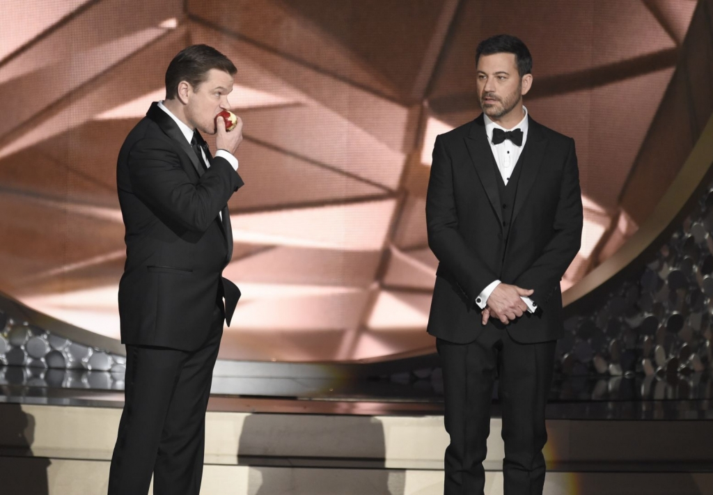 Kimmel wins the prize as cheeky easygoing Emmy host