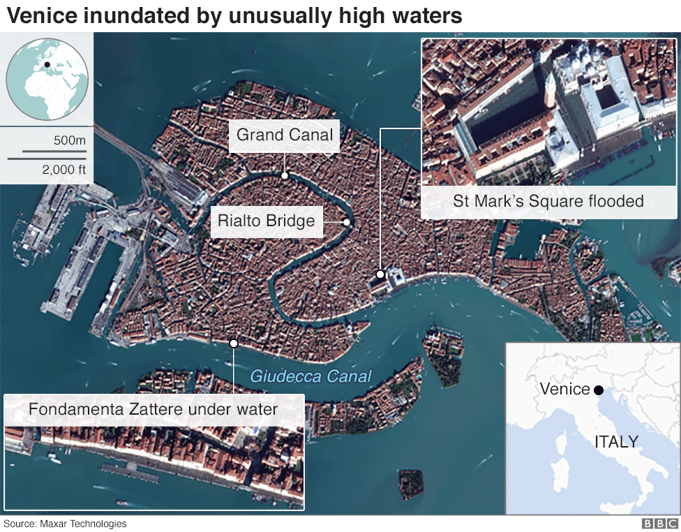 Venice flood - aerial view
