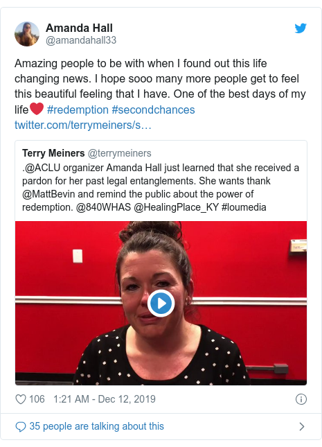Twitter post by @amandahall33: Amazing people to be with when I found out this life changing news. I hope sooo many more people get to feel this beautiful feeling that I have. One of the best days of my life❤️ #redemption #secondchances