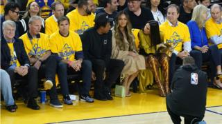 Jay-Z, Beyonce, Nicole Curran and Joe Lacob