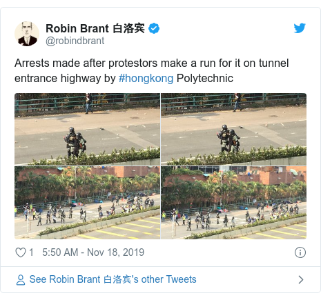 Twitter post by @robindbrant: Arrests made after protestors make a run for it on tunnel entrance highway by #hongkong Polytechnic