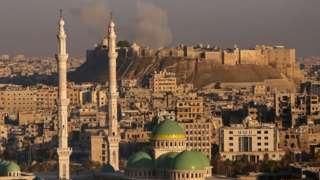 Aleppo citadel - photo taken from government-held western Aleppo - 3 December