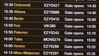 A flight departures board at Gatwick airport in the UK