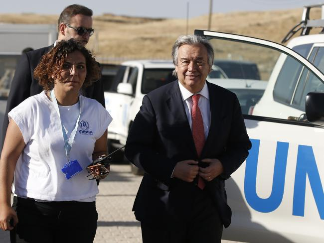 Antonio Guterres visiting Midyat refugee camp in Mardin, southeastern Turkey, near the Syrian border. Picture: AP
