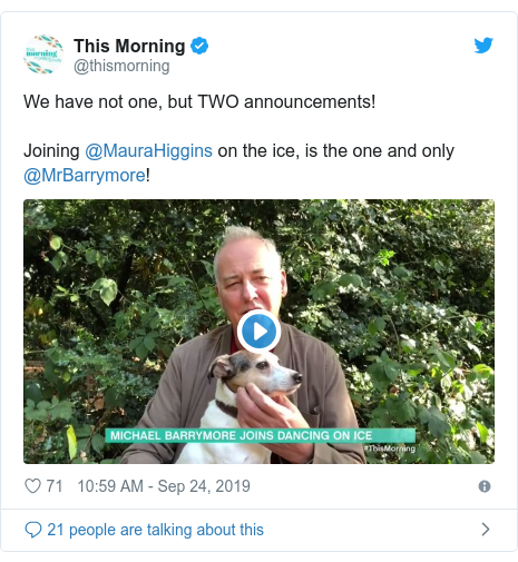 Twitter post by @thismorning: We have not one, but TWO announcements!Joining @MauraHiggins on the ice, is the one and only @MrBarrymore!