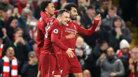 Liverpool lead the Premier League by six points