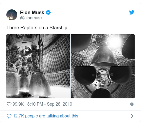 Twitter post by @SpaceX: Starship will be the most powerful rocket in history, capable of carrying humans to the Moon, Mars, and beyond