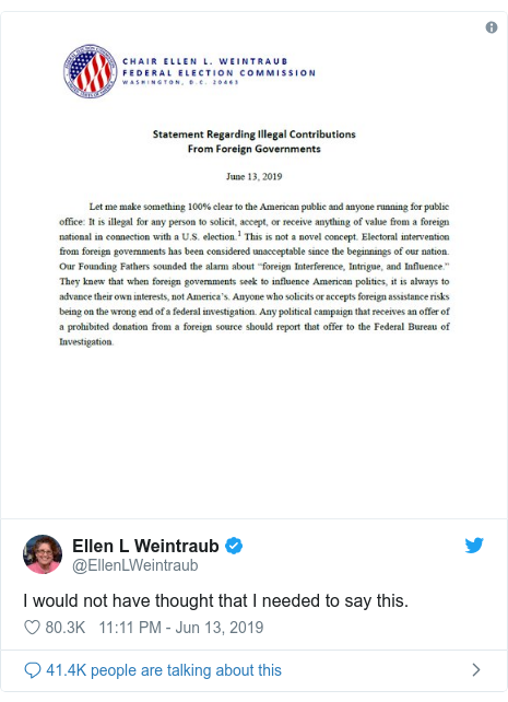 Twitter post by @EllenLWeintraub: I would not have thought that I needed to say this.