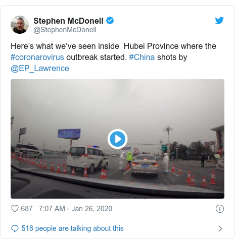 Twitter post by @StephenMcDonell: Here's what we've seen inside  Hubei Province where the #coronarovirus outbreak started. #China shots by @EP_Lawrence