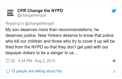 """Twitter post by @NYCPBA: #BREAKING Lynch Blasts Pantaleo Decision  """"Pure Political Insanity""""The only hope for justice now lies with Police Commissioner O'Neill. He knows the message that this decision sends to every cop  we are expendable, and we cannot expect any support from the city we protect."""