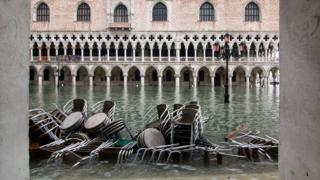 St Mark's Square in Venice covered in water during an exceptional high tide, 13 November 2019