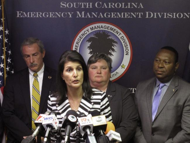 Governor Nikki Haley announces that she plans to call for the evacuation of about 1 million people from South Carolina's coast. Picture: AP/Jeffrey Collins