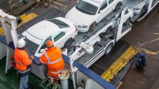 Cars on a transporter on a ferry at Dover
