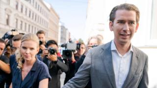 Sebastian Kurz, leader of Austria's People's Party (ÖVP) and his girlfriend Susanne Thier arrive at a polling station during snap elections in Vienna, Austria.