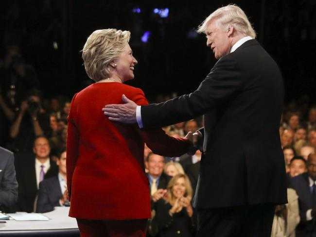 Will Democratic presidential nominee Hillary Clinton and Republican presidential nominee Donald Trump shake hands as cordially during the second presidential debate at Washington University in St. Louis, Missouri. Picture: Joe Raedle / AP