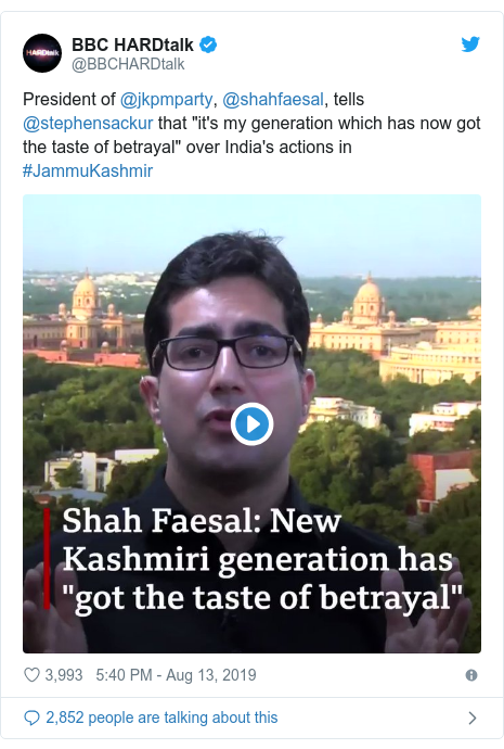 Twitter post by @BBCHARDtalk: President of @jkpmparty, @shahfaesal, tells @stephensackur that the Kashmiri constitution has been murdered by Indian Prime Minister Modi's decision to end the semi-autonomous status of #JammuKashmir