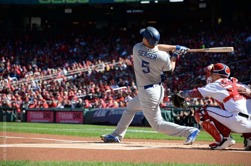 Dodgers rookie Corey Seager hit a home-run vs the nationals in Game 2 of playoff series