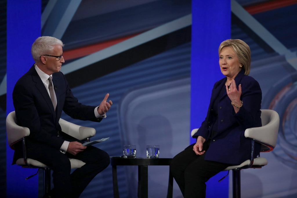 DERRY NH- FEBRUARY 03 Democratic Presidential candidates Hillary Clinton sits with CNN anchor Anderson Cooper during a CNN and the New Hampshire Democratic Party hosted Democratic Presidential Town Hall at the Derry Opera House