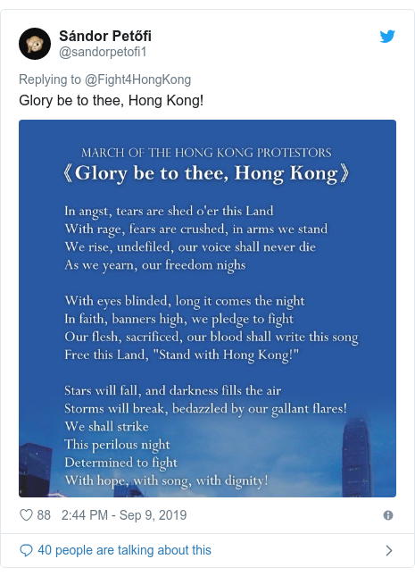 Twitter post by @sandorpetofi1: Glory be to thee, Hong Kong!