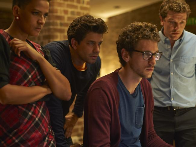 Cyber security drama series, The Code, which starred Dan Speilman (right) and Adam Garcia (centre, left) broke the usual mould, Brennan says. Picture: ABC/Simon Cardwell